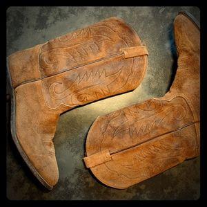 Rare Mens Tony Lama Suede Cowboy Boots, Sz 12D